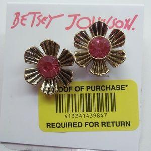 Betsey Johnson New Hot Pink Flower Earrings